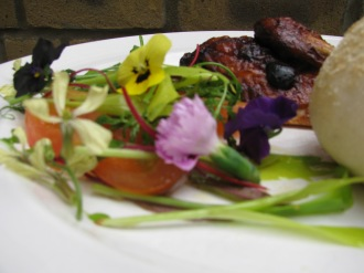 Roast chicken with The Cornish Food Club's 'chick bag'  flower salad