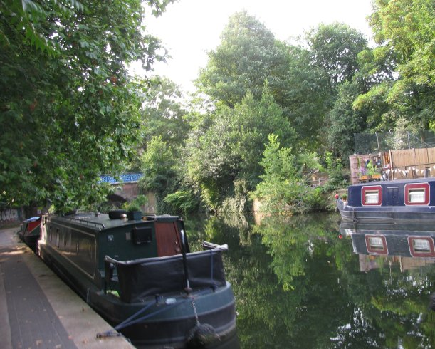 Canal boats, Regents Canal, Hackney, London