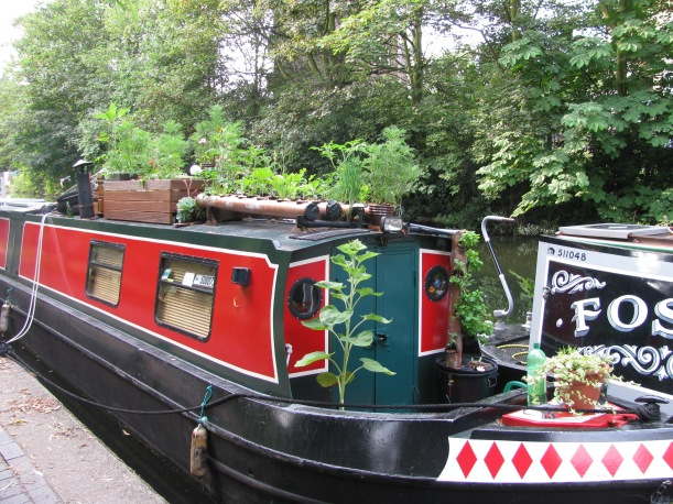 Garden on roof of canal Boat, regents Canal Hackney, London