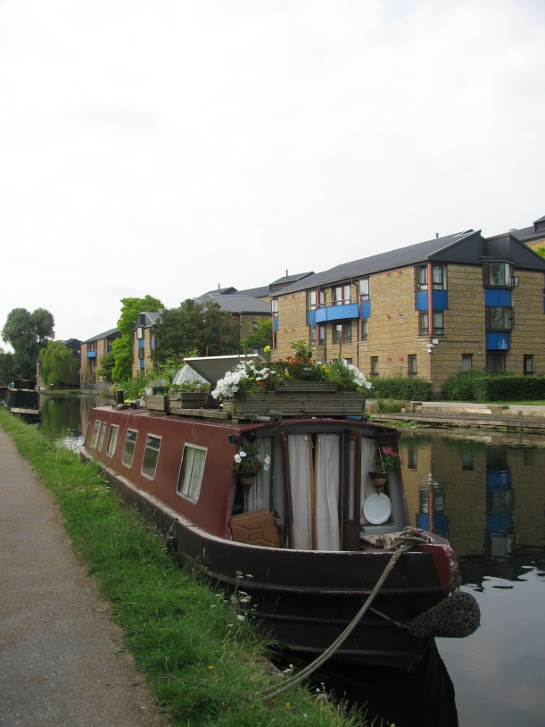Garden on roof of Canal Boat, Regents Canal London